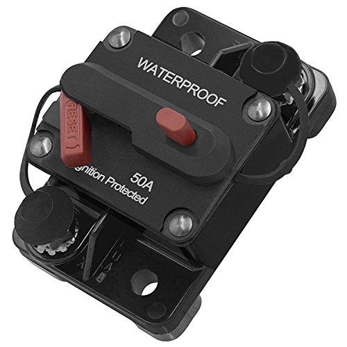 Ocamo 50A 100A 150A Car Motor Audio Refit Energy Inline Circuit Breaker Fuse Manual Reset 12V/24V Manual reset + switch 50A