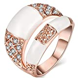 FENDINA Stacking Rings for Women 18K Rose Gold Plated Fashion Jewelry Wedding Rings Round Cut Simulated Diamonds CZ Anniversary Cocktail Band Rings