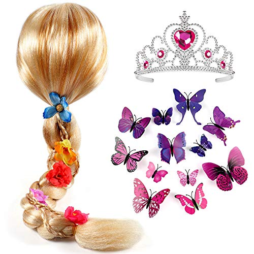 Tacobear Princess Rapunzel Wig for Girls with Princess Tiara and Butterfly Pin Princess Rapunzel Dress up Accessories for Girls Kids]()