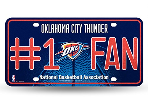 NBA Oklahoma City Thunder Bling #1 Fan Metal Auto Tag Plate, 12 x 6-Inch, Silver