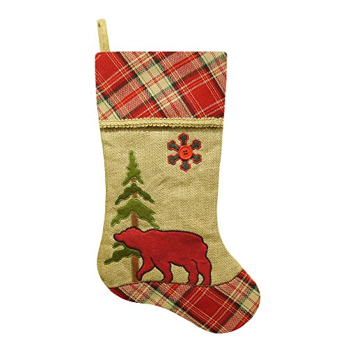 "20.5"" Burlap Bear Christmas Stocking with Plaid Cuff"