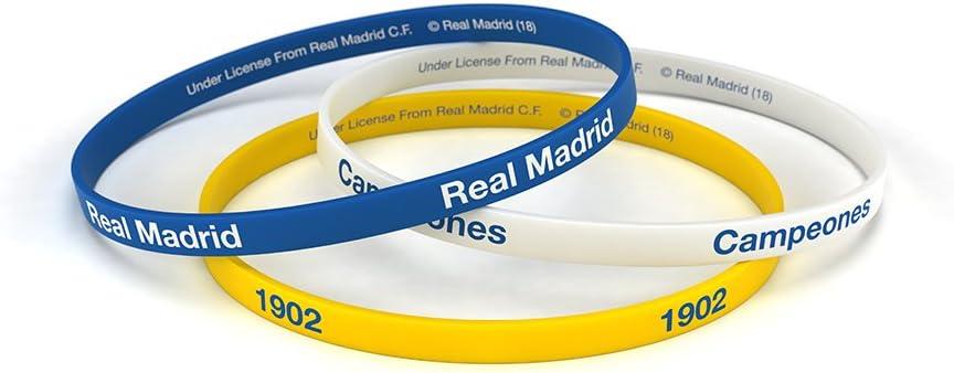 Real Madrid Club de F/útbol Classic Bracelets officiels tricolore en silicone pour hommes