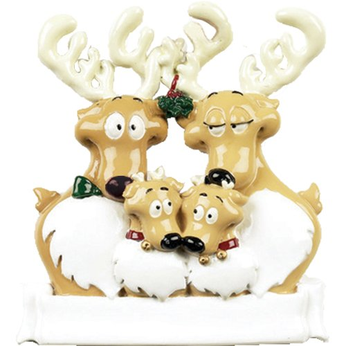 Personalized Reindeer Family of 4 Christmas Tree Ornament 2019 - Cute Parent Child Under Mistletoe Ribbon Tradition Gift Year Hug Gift Kid Deer Rudolph Nose - Free Customization (Four)
