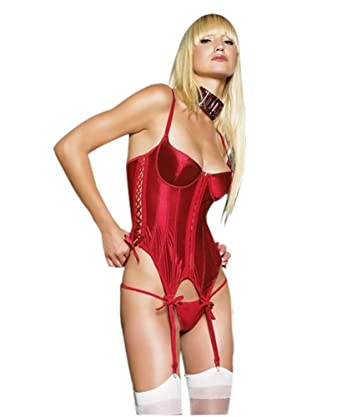 37e5d0dc3 Image Unavailable. Image not available for. Color  Women s Satin Merrywidow  Lingerie with Lace Up Sides ...