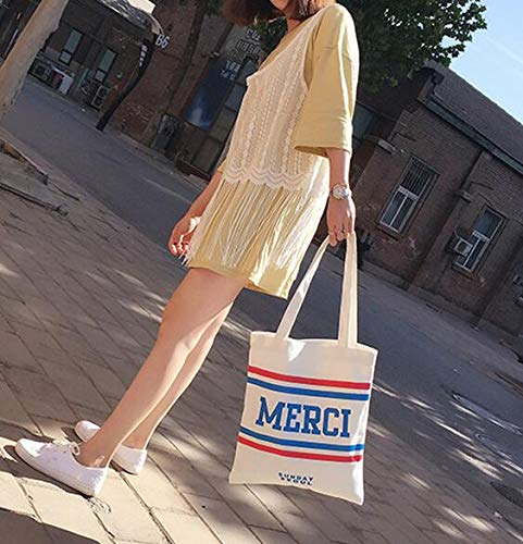 Handbag Books Grand À tout School Sac Canvas Shopping Sacs French Merci blanc Fourre Bandoulière Pn7qg00XU