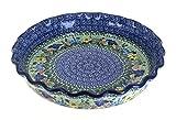 Blue Rose Polish Pottery Garden Bloom Pie Plate