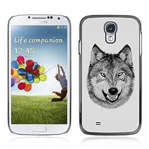 YOYOSHOP [Laughing Wolf Cool Funny B/W] Samsung Galaxy S4 Case