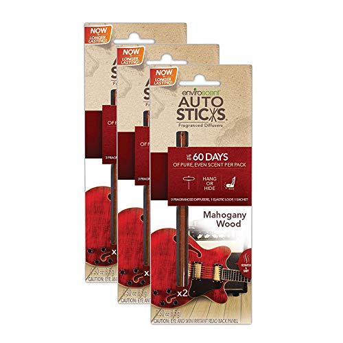 Enviroscents Auto Sticks Natural Car Air Fresheners, 3-Pack with 6 Sticks (Mahogany Wood) ()