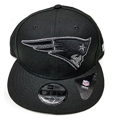 New Era New England Patriots 9Fifty Black & White Logo Adjustable Snapback Hat NFL from New Era