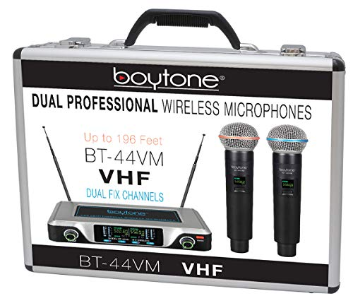 Boytone BT-44VM Dual Digital Channel Wireless Microphone System - VHF Fixed Frequency Wireless Mic Receiver, 2 Handheld Dynamic Transmitter Mics, for Party, Church, Aluminum carrying cases, 110/220V