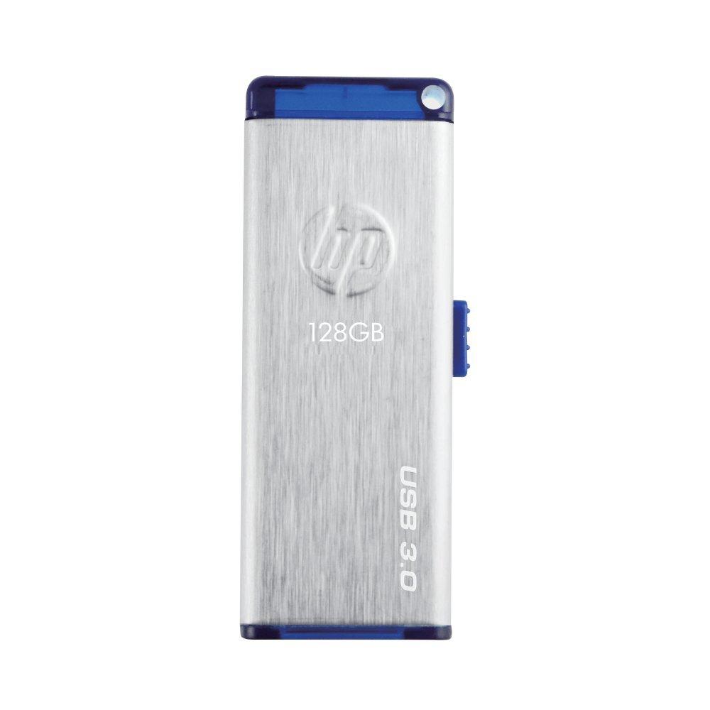 HP USBメモリ 128GB USB 3.0 伸縮式、ブラシテクスチャ、ステンレス鋼のフラッシュドライブ x730w HPFD730W-128