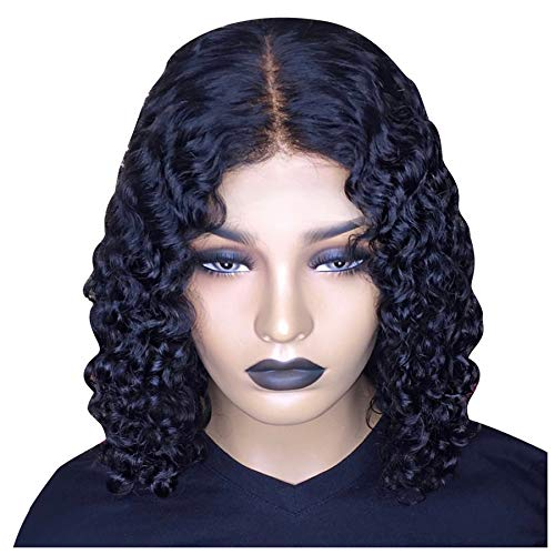 Naiflowers Women Black Curly Wave Short Wigs, 12/14/16 inch Wigs Sexy Curly Wavy Synthetic, Natural Party Cosplay Heat Resistant Fiber Synthetic Hair Natural Full Wigs, Elastic & Smooth (Length: 16