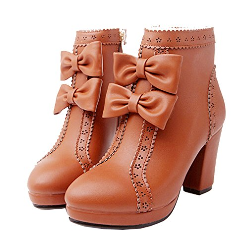 YE Women's Chunky High Heel Platform Sweet Cute Zip Ankle Boots with Bows Autumn Winter Fashion Shoes Brown J2iUPhu2