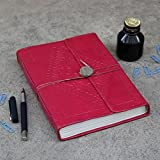 Back to school Fathers Day Gift Pink Leather Bound Journal Diary Blank Notebook For Men & Women Handmade 100 Sheets 200 Pages Unlined with Matching Leather String and Old Seal (8X6) inches