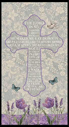 Blank Quilting Fabric (Walk By Faith Lord's Prayer On A Cross Design Gray Blank Quilting 8886P)