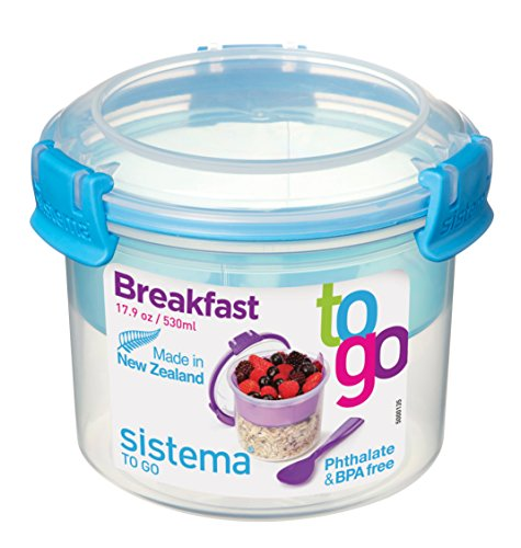 Sistema To Go Collection Breakfast Bowl Food Storage Container, 17.9 oz./0.5 L, Clear/Blue
