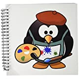 3dRose db_179549_2 Image of Cartoon Penguin Painter Memory Book, 12 by 12-Inch