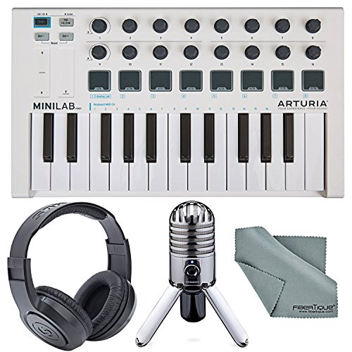 Arturia MiniLab Mk II Portable Universal USB-MIDI Controller and Deluxe Bundle w/ Samson Meteor USB Studio Mic + Fibertique Cleaning Cloth -  Photo Savings, PS_230501