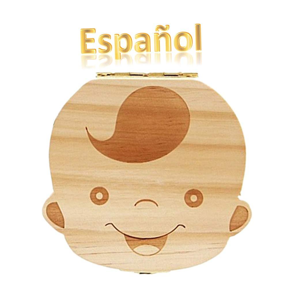 Aikesi Caja Almacenamiento Madera Almacenaje para Dientes De Leche Diente Caja de Recuerdo Bebé Chico(Español)