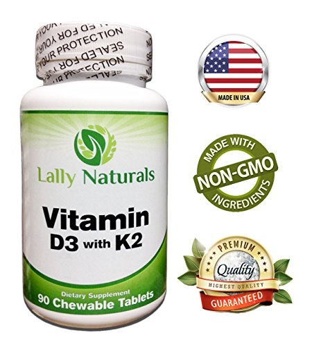 Pure Vitamin D3 with K2 - (MK 7) Dietary Supplement - Non-GMO - Cholecalciferol Vitamin D3 2000iu Vegetarian Complex - K2 Vitamin Supplement - Strong Bones & Healthy Heart - 90 Chewable Tablets