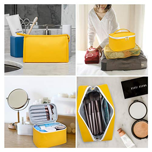 WANDF 3 Pieces Makeup Bag PU Leather Toiletry Bag Portable Cosmetic Pouch Water-resist Travel Organizer for Women (Yellow)