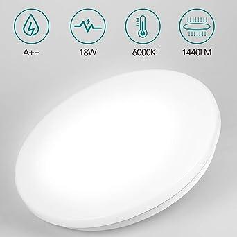 Plafón LED - 18W Lámpara LED de Techo Impermeable 1400LM, Alta Luminancia Luz Blanca Lámpara