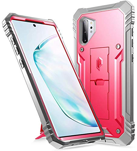 Galaxy Note 10 Plus Rugged Case with Kickstand, Poetic Heavy Duty Military Grade Full Body Cover, Without Built-in-Screen Protector, Revolution, for Samsung Galaxy Note 10+ Plus 5G, Pink