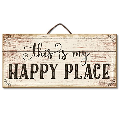 Highland Graphics Motivational Sign 'This is My Happy Place' Table or Wall Decor ()