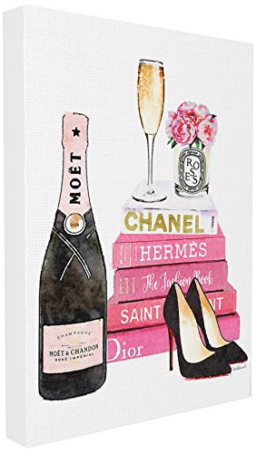 Stupell Industries Glam Pink Fashion Book Champagne Hells and Flowers XXL Stretched Canvas Wall Art, Proudly Made in - Glam Fashion