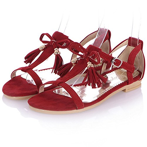 Flat Shoes Fringed Flats T Red Suede Women Sandals Open Strap Toe CoolCept S0OqwO