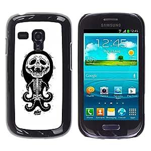 GOODTHINGS ( NO PARA S3 i9300 ) Funda Imagen Diseño Carcasa Tapa Trasera Negro Cover Skin Case para Samsung Galaxy S3 MINI I8190 I8190N - pulpo blanco negro divertido esqueleto cráneo