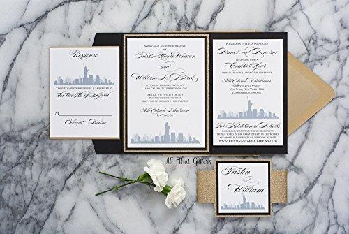 Custom New York City Themed Wedding Invitation, NYC Wedding Cards, Skyline, Tristin Sample - Skyline Custom Invite