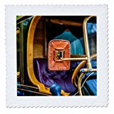 3dRose Alexis Photography - Transport Road - Rear view mirror of an ancient car. History of auto transport - 12x12 inch quilt square (qs_273802_4)