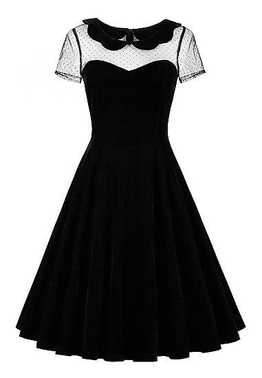 55e321009354 JapanAttitude Robe Noire en Velours avec Haut en résille