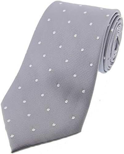 Grey/White Polka Dot Silk Tie by David Van Hagen