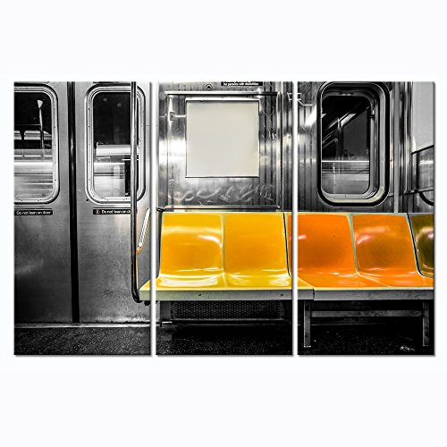 LevvArts - Modern Cityscape Canvas Wall Art,New York City Subway Car Interior with Yellow Seats Picture Print on Canvas Painting,Framed and Ready to ()