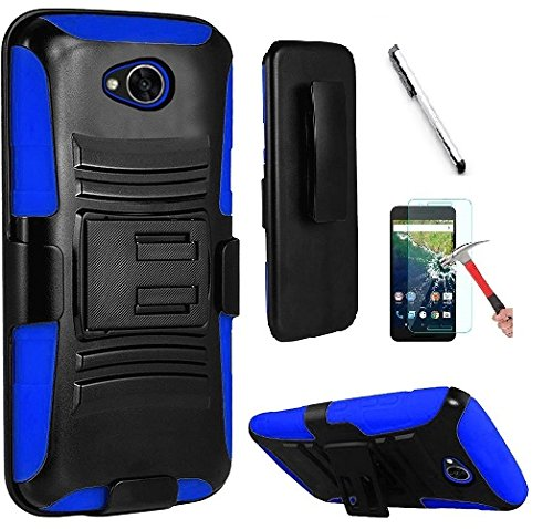 Faceplate Belt Clip Blue (LG Fiesta 2 (L164VL/L163BL) / LG X Power 2 (M320) / LG Fiesta LTE (L64VL/L63BL) / LG X Charge Case, Luckiefind Dual Layer Hybrid Side Kickstand Cover Case With Holster Clip Accessories(Holster Blue))