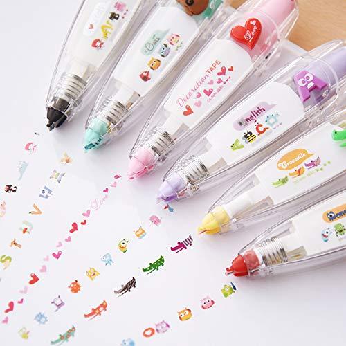 Kawaii Animals Press Type Decorative Correction Tape Kawaii Flower Decoration Tape For Kids Gift 3pcs