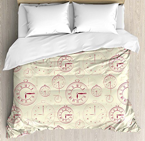 Clock Decor Duvet Cover Set by Ambesonne, Vintage Watches with Roman Digits Wallpaper Pattern Decorative Illustration, 3 Piece Bedding Set with Pillow Shams, Queen / Full, Cream Maroon