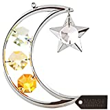 Matashi Christmas Crystal Studded Ornament, Cheerful Hanging Decoration for Seasonal Beauty (Silver, Moon)