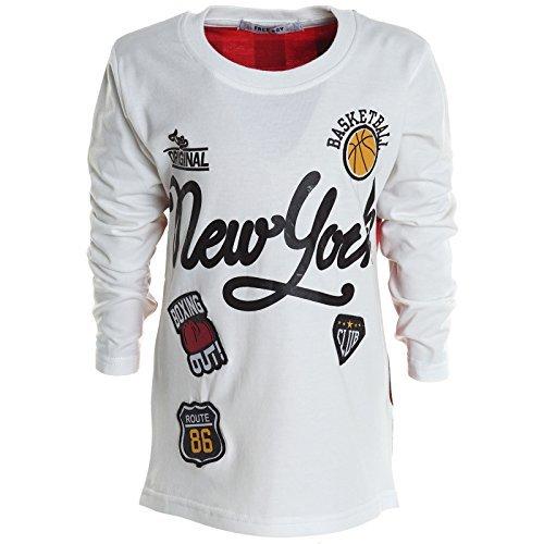 Jungen Shirts Kinder Pullover T-Shirt Langarmshirt Sweatshirt Sweatjacke 20592, Farbe:Weiß;Größe:116