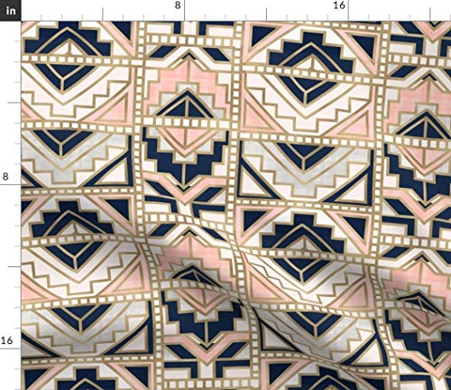 Spoonflower Aztec Fabric - Aztec-Navy Blush Navy Gold Cream Modern Home Decor Geo Geometric Kilim Tapestry Print on Fabric by The Yard - Chiffon for Sewing Fashion Apparel Dresses Home Decor