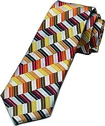 Zarrano Skinny Tie 100% Silk Woven Orange/Red Geometric Tie
