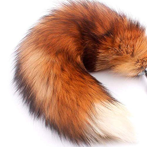 Mounan Real Fox Tail Keychain Fluffy Fur Tail for Kids Costume Cosplay (Flame, L)