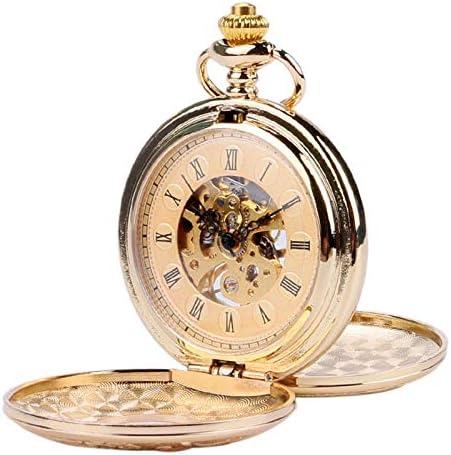 懐中時計、ウッドデザインメカニカルヴィンテージ絶妙なペンダントウォッチ中空手巻き時計ギフトブロンズチェーン付き