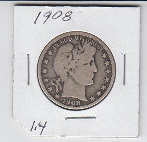 1908 Barber Half Dollar Silver Coin- Circulated Half Dollar Good