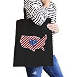 365 Printing USA Map American Flag Canvas Eco Bag America Heart Design Tote Bag