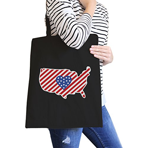 365 Printing USA Map American Flag Canvas Eco Bag America Heart Design Tote Bag by 365 Printing 4th of July