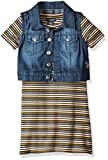 U.S. Polo Assn. Little Girls' Toddler Striped Textured Knit Dress and Stretch Sateen Denim Vest, Multi, 3T