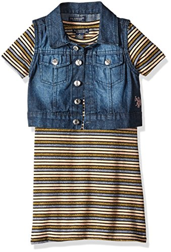 U.S. Polo Assn. Little Girls' Striped Textured Knit Dress With Lurex Threads and Stretch Sateen Denim Vest, Multi, - Knit Denim Dress Stretch